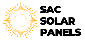 Sacramento Solar Panels Logo.  A yellow sun icon of just the outer rays and black bold font that reads Sac Solar Panels